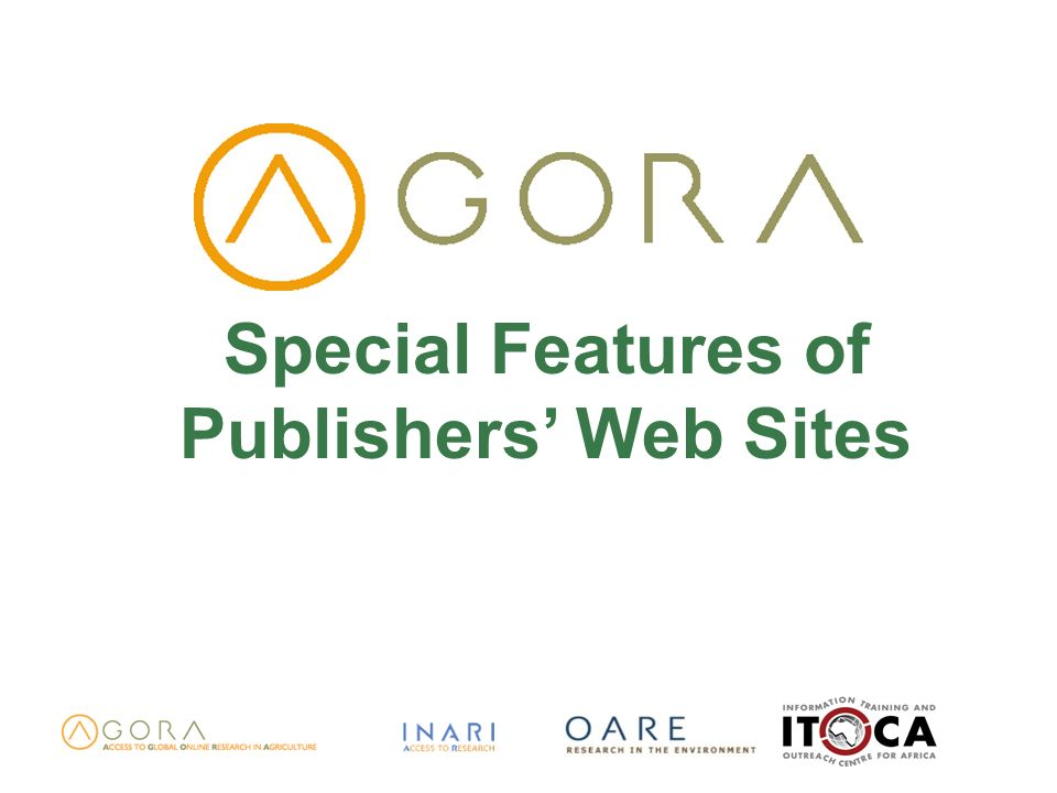 Special Features of Publishers Web Sites