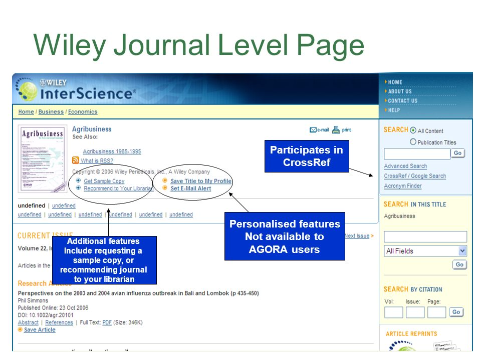 Wiley Journal Level Page Additional features Include requesting a sample copy, or recommending journal to your librarian Personalised features Not available to AGORA users Participates in CrossRef