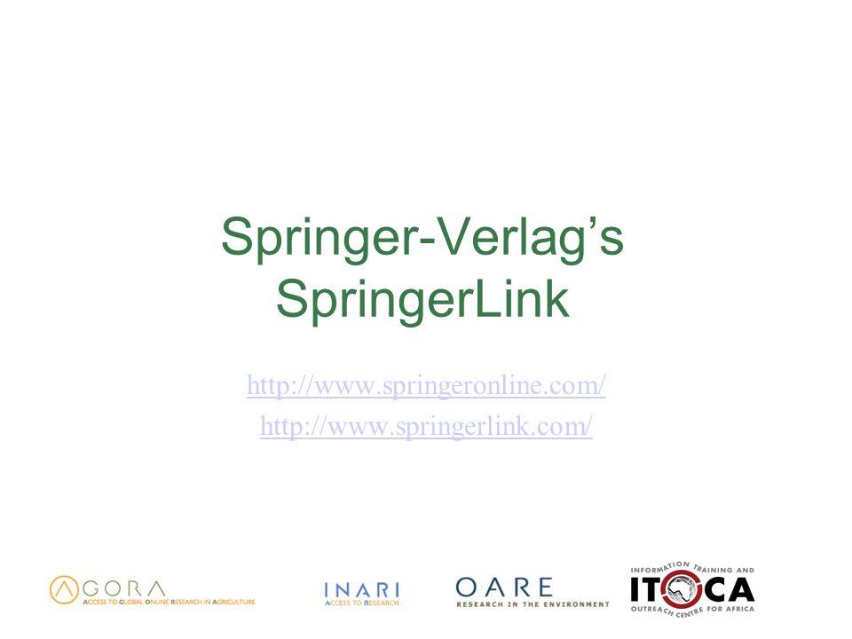 Springer-Verlags SpringerLink http://www.springeronline.com/ http://www.springerlink.com/