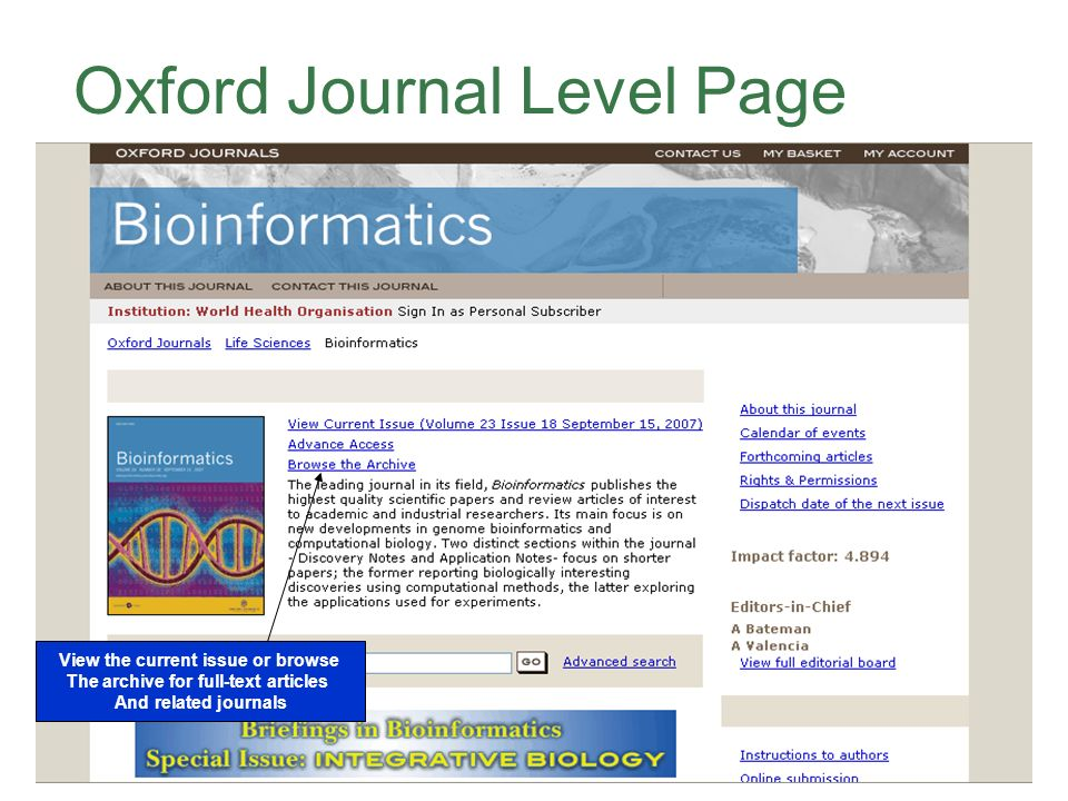 Oxford Journal Level Page View the current issue or browse The archive for full-text articles And related journals