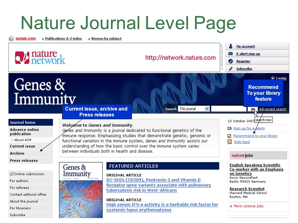 Nature Journal Level Page Recommend To your library feature Current issue, archive and Press releases
