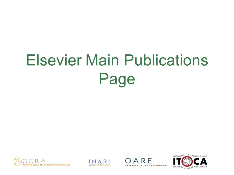 Elsevier Main Publications Page