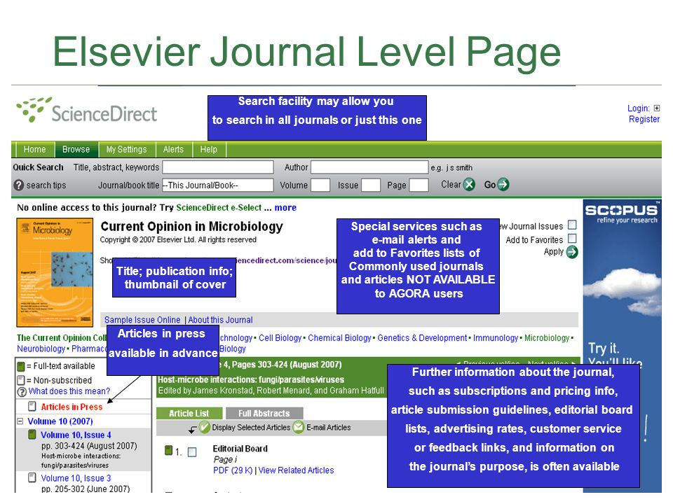 Elsevier Journal Level Page Search facility may allow you to search in all journals or just this one Title; publication info; thumbnail of cover Articles in press available in advance Special services such as e-mail alerts and add to Favorites lists of Commonly used journals and articles NOT AVAILABLE to AGORA users Further information about the journal, such as subscriptions and pricing info, article submission guidelines, editorial board lists, advertising rates, customer service or feedback links, and information on the journals purpose, is often available