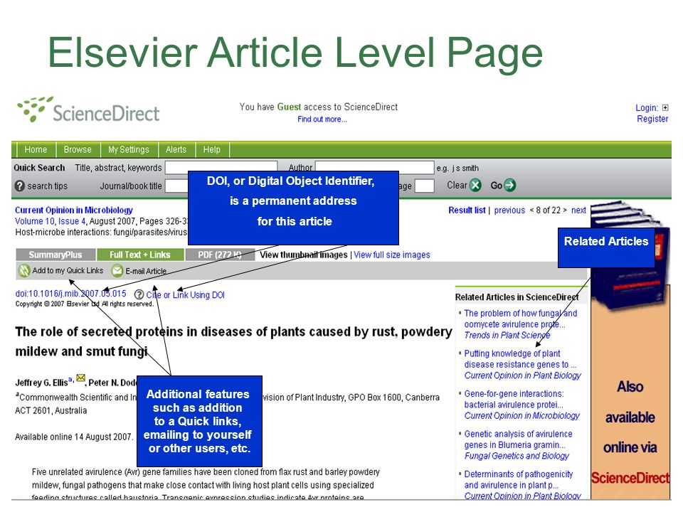 Elsevier Article Level Page DOI, or Digital Object Identifier, is a permanent address for this article Related Articles Additional features such as addition to a Quick links, emailing to yourself or other users, etc.