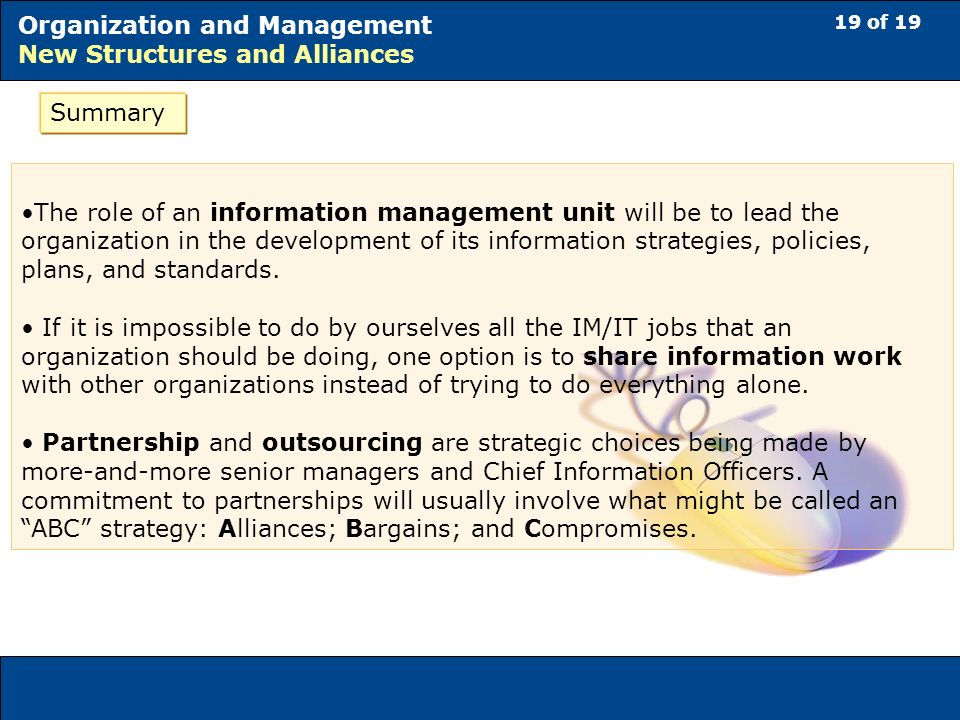 19 of 19 Organization and Management New Structures and Alliances Summary The role of an information management unit will be to lead the organization in the development of its information strategies, policies, plans, and standards.