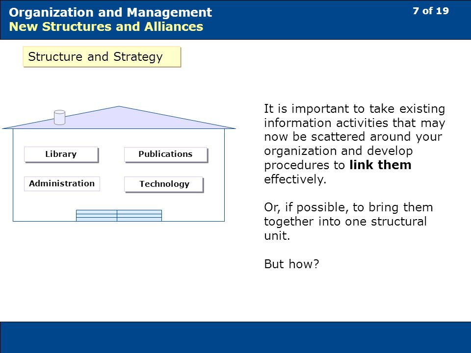 7 of 19 Organization and Management New Structures and Alliances Structure and Strategy It is important to take existing information activities that may now be scattered around your organization and develop procedures to link them effectively.