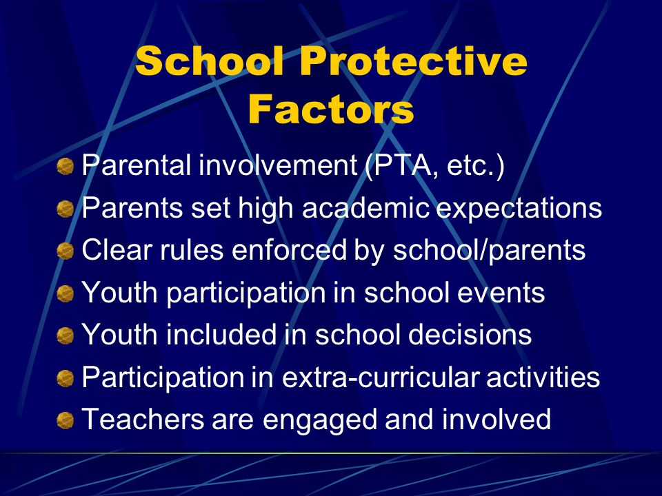 School Protective Factors Parental involvement (PTA, etc.) Parents set high academic expectations Clear rules enforced by school/parents Youth participation in school events Youth included in school decisions Participation in extra-curricular activities Teachers are engaged and involved