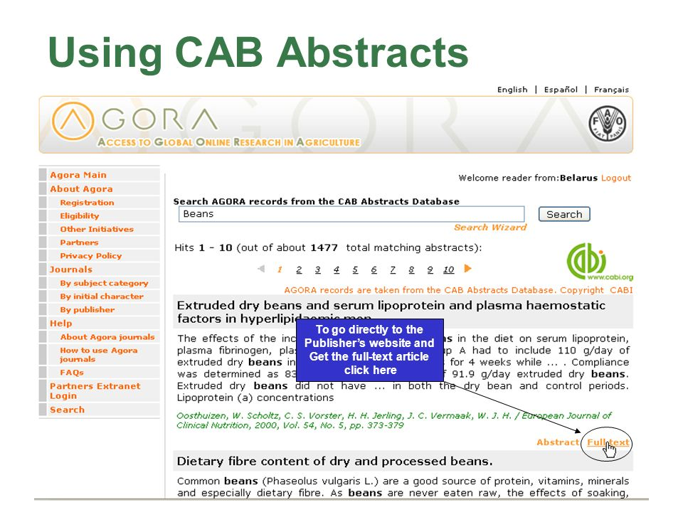 Using CAB Abstracts To go directly to the Publishers website and Get the full-text article click here