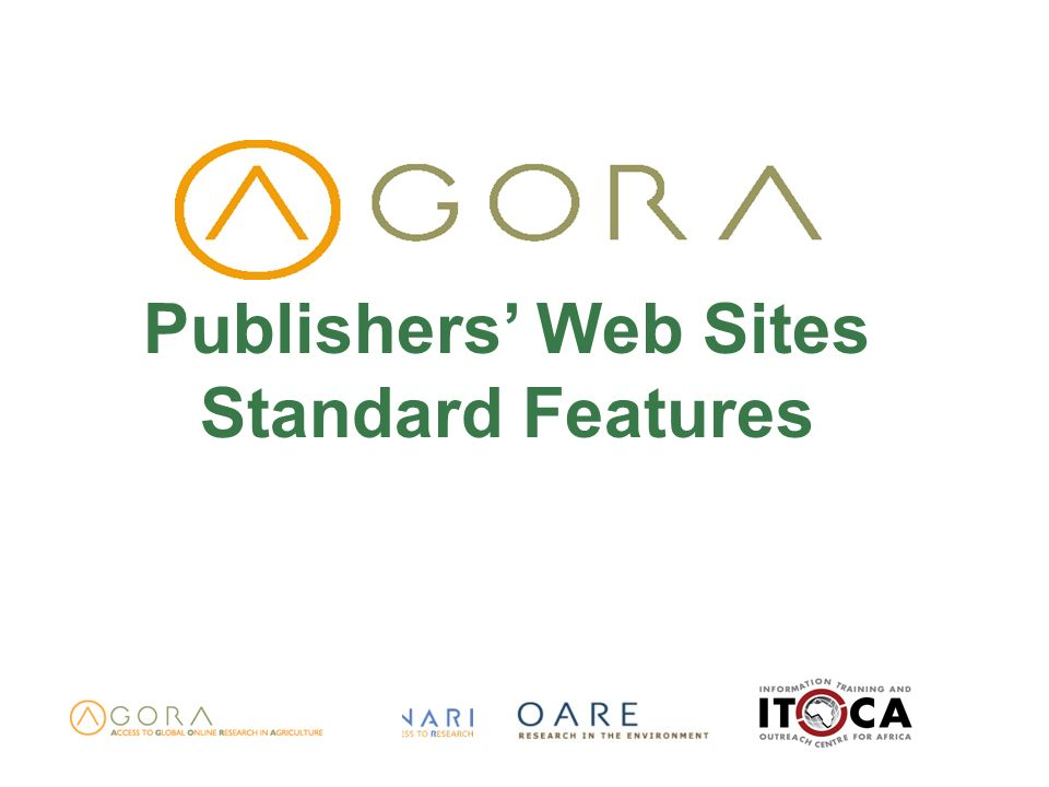 Publishers Web Sites Standard Features