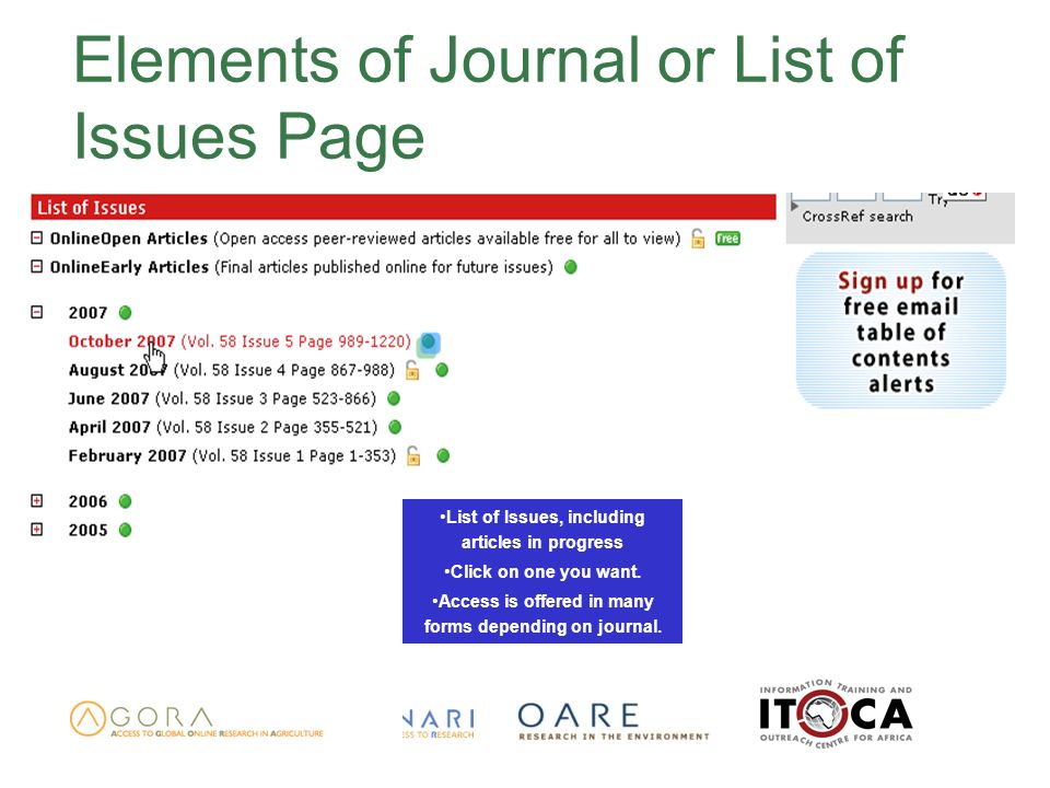 Elements of Journal or List of Issues Page List of Issues, including articles in progress Click on one you want.