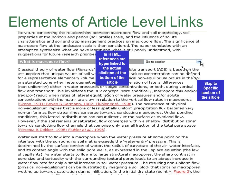 Elements of Article Level Links Skip to Specific section of the article In HTML, references are hyperlinked to the actual citations at the bottom of the article