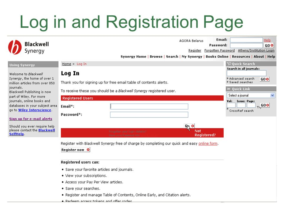 Log in and Registration Page
