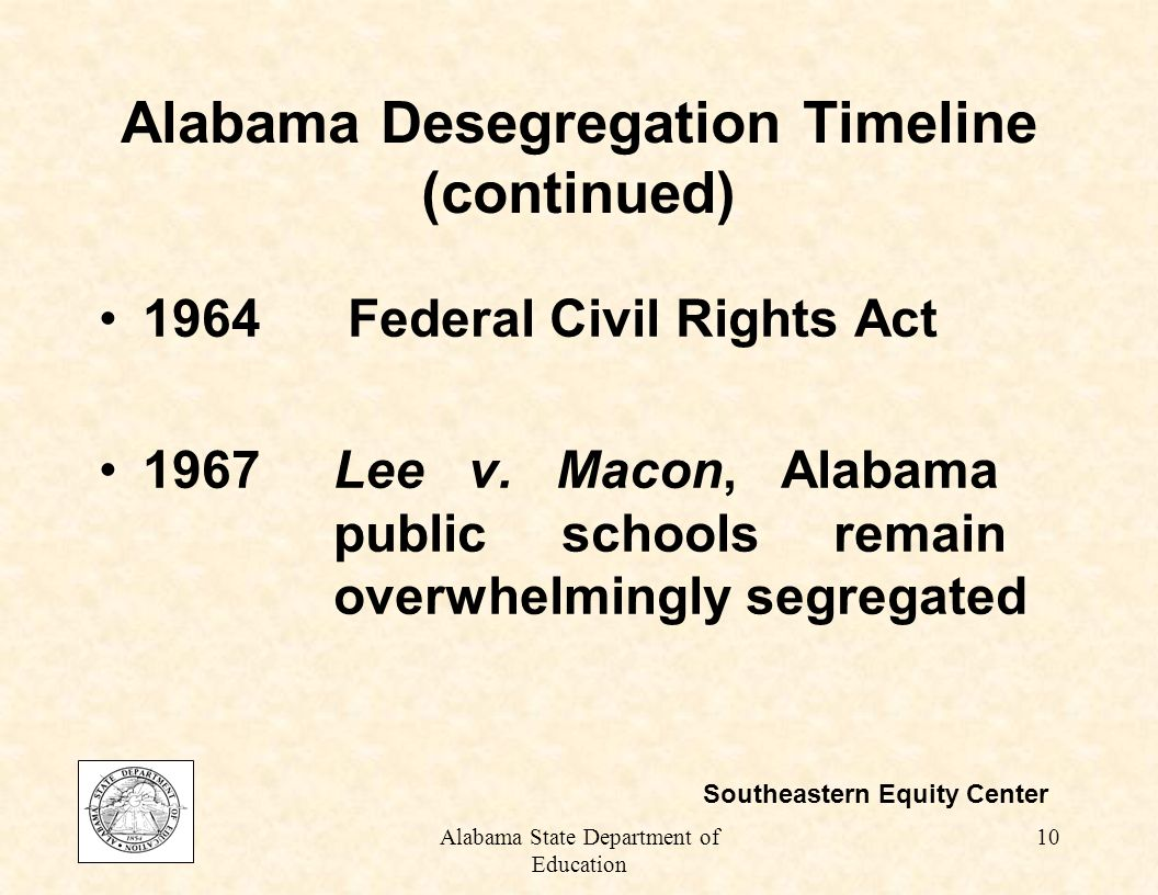 Alabama State Department of Education 9 Alabama Desegregation Timeline (continued) 1963Lee v.