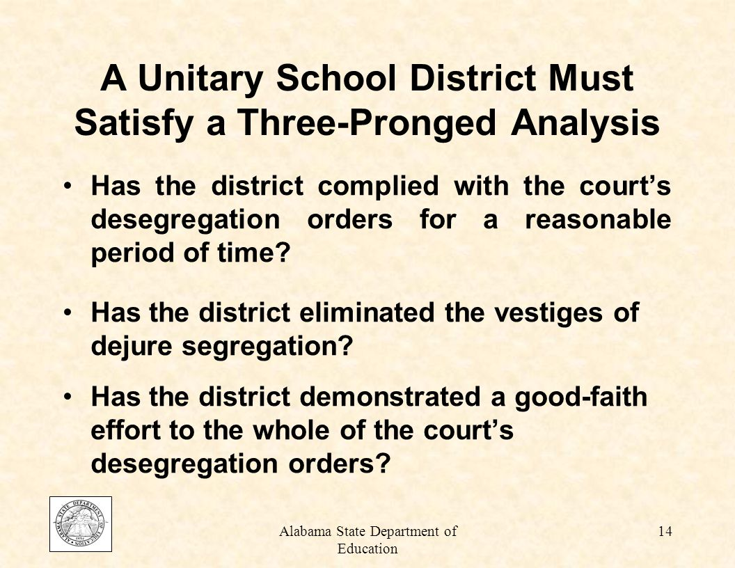 Alabama State Department of Education 13 Unitary Status Means school systems no longer discriminate on the basis of race Is an indicator that a concerted effort has been made to eradicate the vestiges of dual school systems Is a reflection; a change in attitudes, beliefs, actions, values, and outcomes
