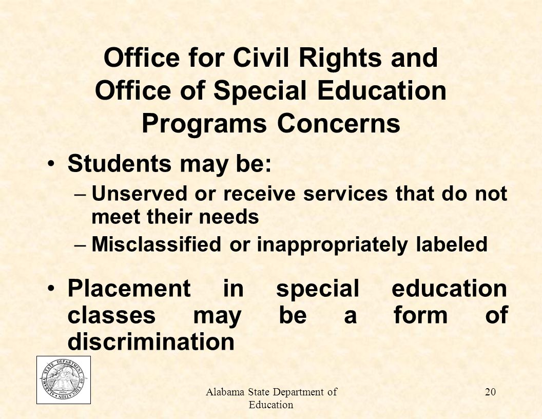 Alabama State Department of Education 19 Who is Most Affected by Overrepresentation.