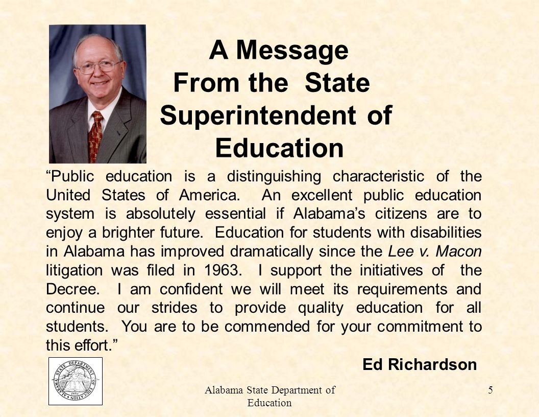 Alabama State Department of Education 85 POST ASSESSMENT 1.
