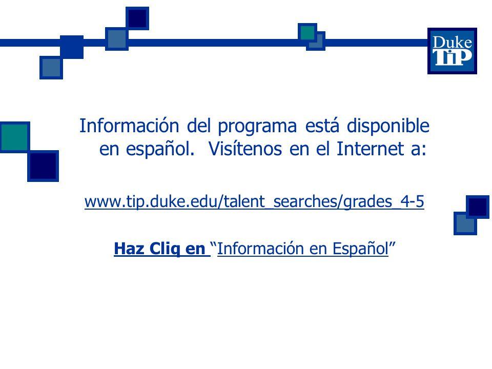 Información del programa está disponible en español.