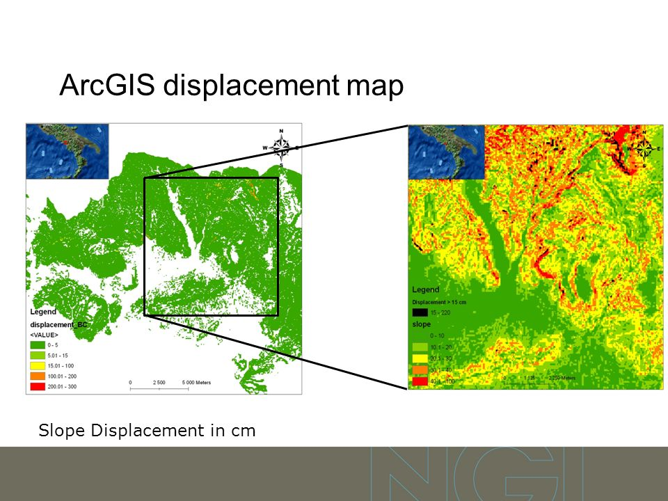 ArcGIS displacement map Slope Displacement in cm