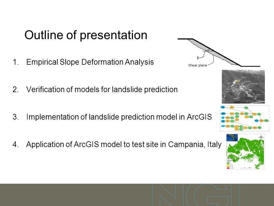 Outline of presentation 1.Empirical Slope Deformation Analysis 2.Verification of models for landslide prediction 3.Implementation of landslide predict