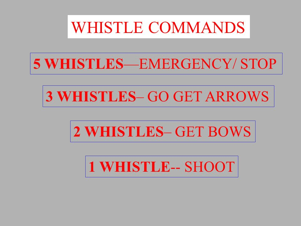 WHISTLE COMMANDS 5 WHISTLESEMERGENCY/ STOP 3 WHISTLES– GO GET ARROWS 2 WHISTLES– GET BOWS 1 WHISTLE-- SHOOT