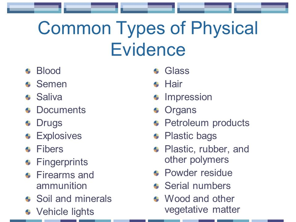 Types of Physical Evidence 5 types exist Transient Pattern Conditional Transfer Associative
