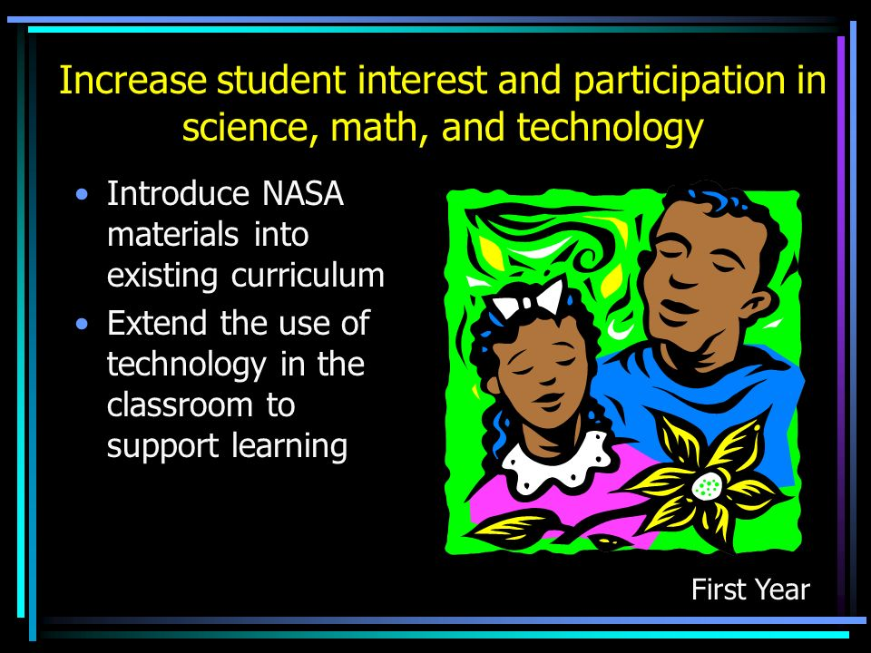 Increase student interest and participation in science, math, and technology Introduce NASA materials into existing curriculum Extend the use of techn