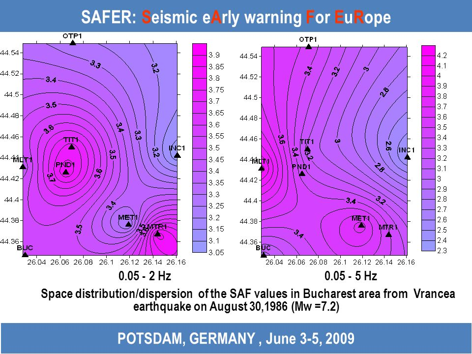 SAFER: Seismic eArly warning For EuRope 0.05 - 2 Hz 0.05 - 5 Hz Space distribution/dispersion of the SAF values in Bucharest area from Vrancea earthqu