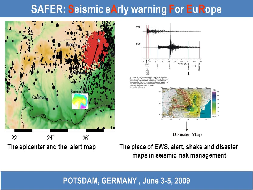 SAFER: Seismic eArly warning For EuRope POTSDAM, GERMANY, June 3-5, 2009 The epicenter and the alert map The place of EWS, alert, shake and disaster m