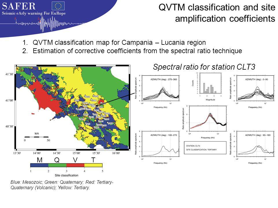 Blue: Mesozoic; Green: Quaternary; Red: Tertiary- Quaternary (Volcanic); Yellow: Tertiary.