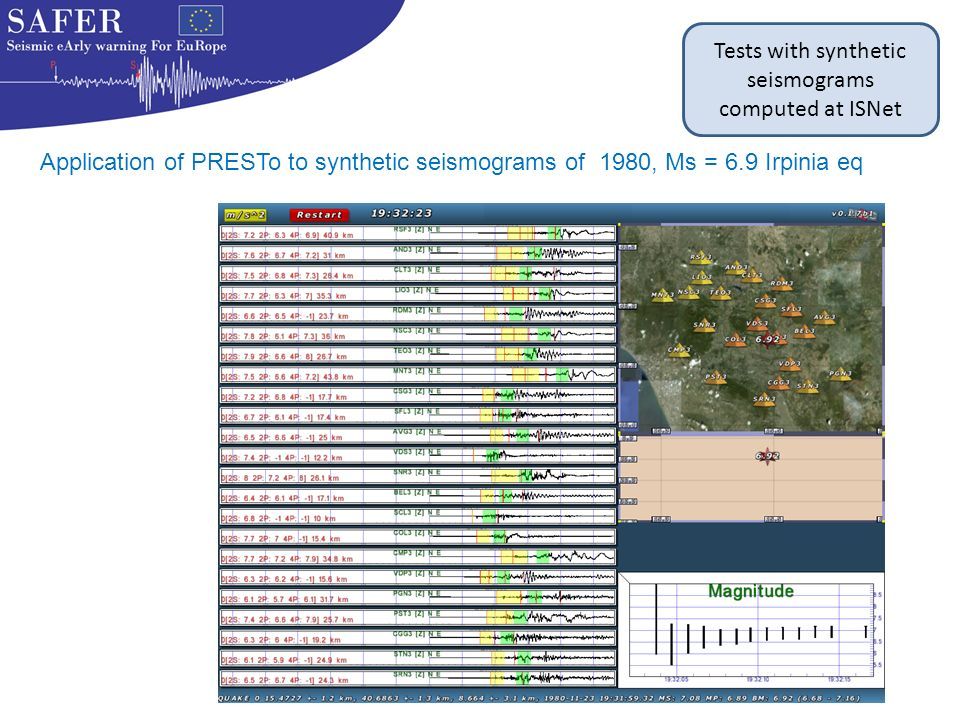 Tests with synthetic seismograms computed at ISNet Application of PRESTo to synthetic seismograms of 1980, Ms = 6.9 Irpinia eq