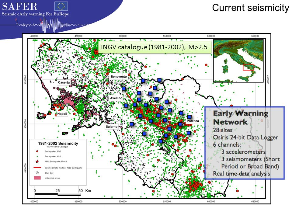 INGV catalogue ( ), M>2.5 Current seismicity