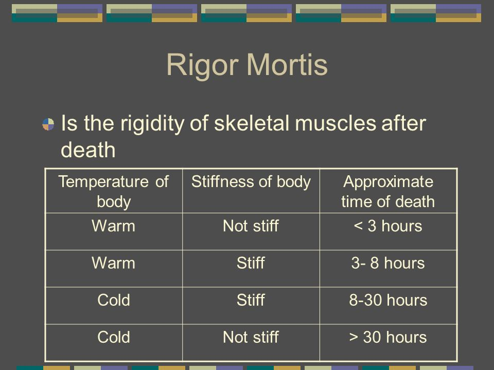 Rigor Mortis Is the rigidity of skeletal muscles after death Temperature of body Stiffness of bodyApproximate time of death WarmNot stiff< 3 hours War