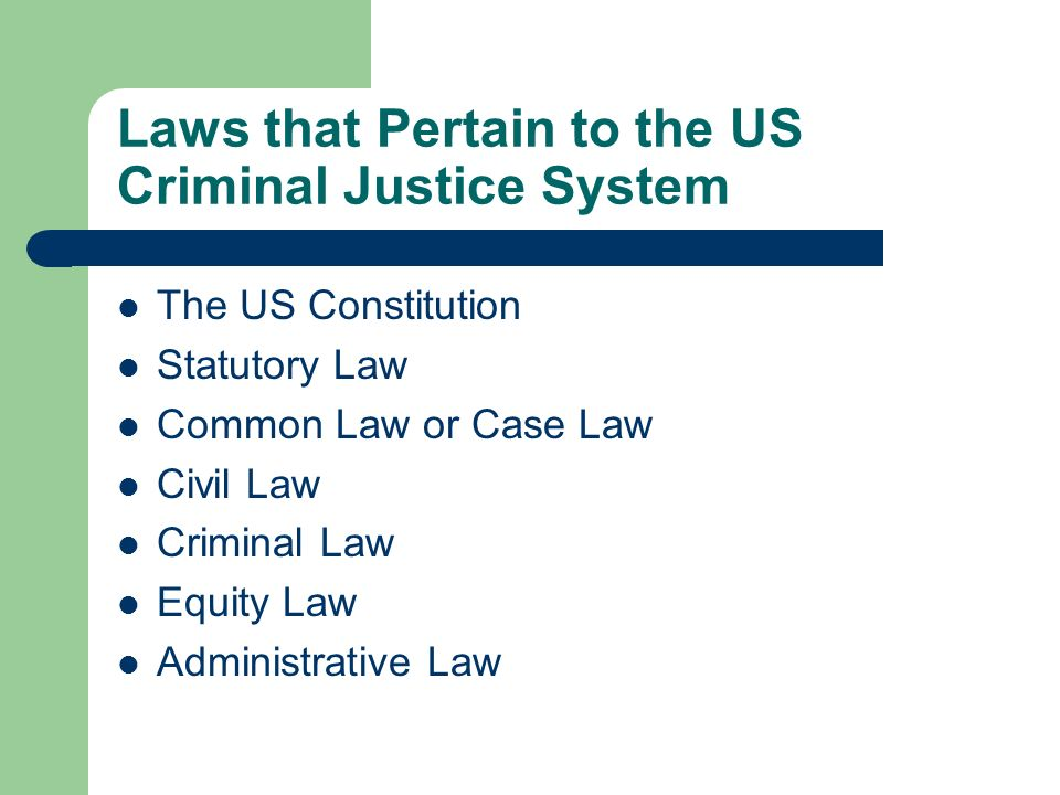 Laws that Pertain to the US Criminal Justice System The US Constitution Statutory Law Common Law or Case Law Civil Law Criminal Law Equity Law Adminis