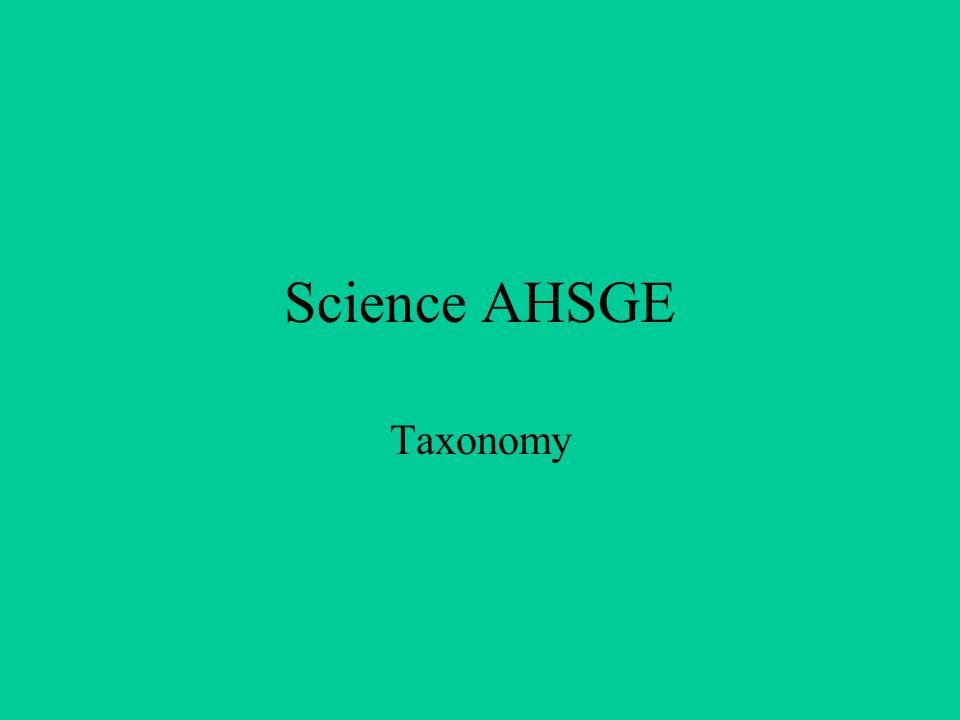 Science AHSGE Taxonomy