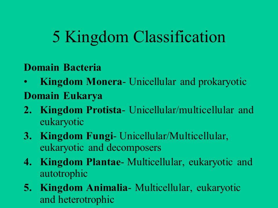 5 Kingdom Classification Domain Bacteria Kingdom Monera- Unicellular and prokaryotic Domain Eukarya 2.Kingdom Protista- Unicellular/multicellular and