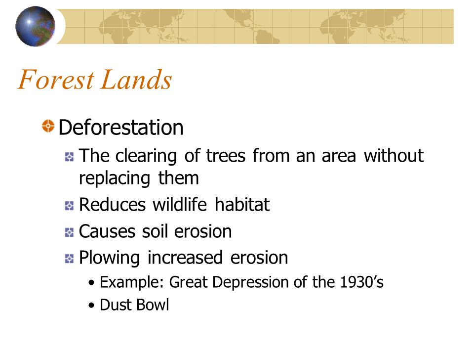 Forest Lands Deforestation The clearing of trees from an area without replacing them Reduces wildlife habitat Causes soil erosion Plowing increased er