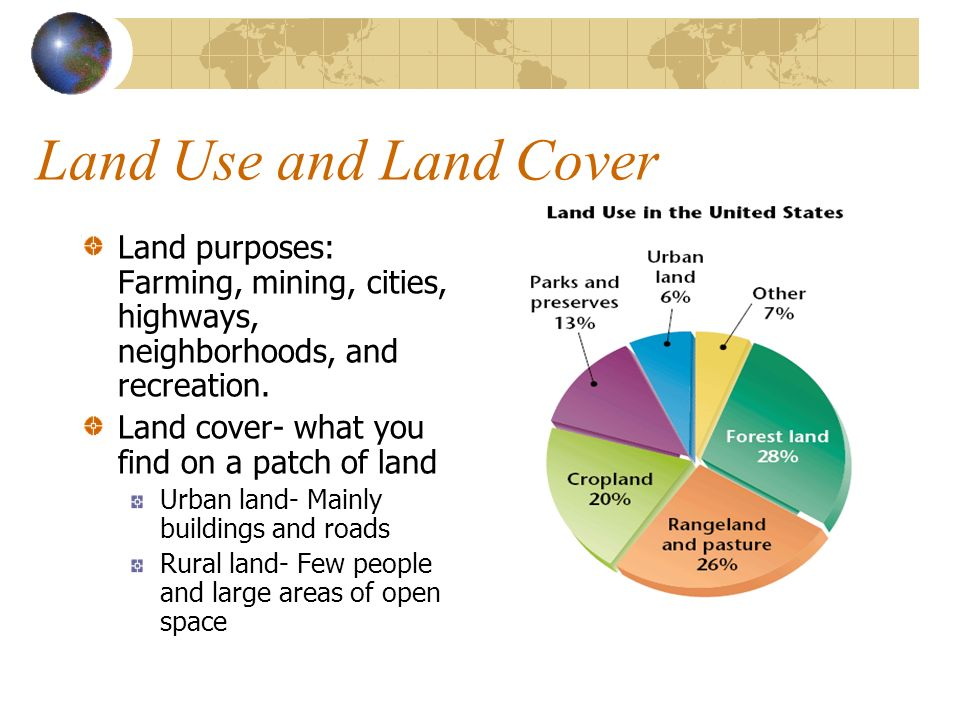 Farmlands Land that is used to grow crops and fruit Threatened by urban development National farmland Protection Program (1996)