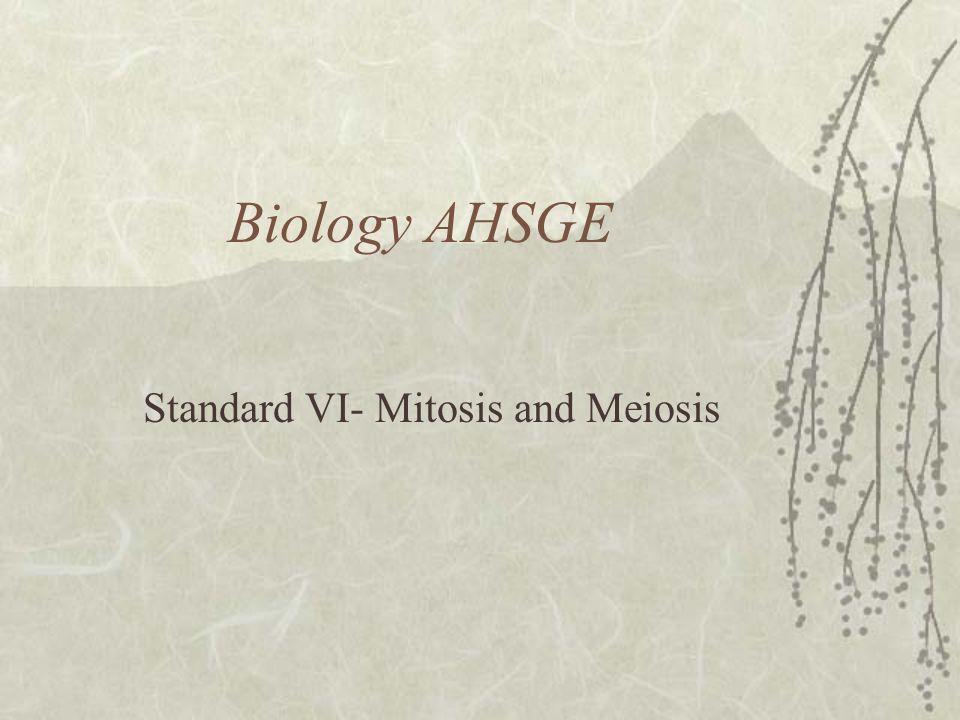 Biology AHSGE Standard VI- Mitosis and Meiosis