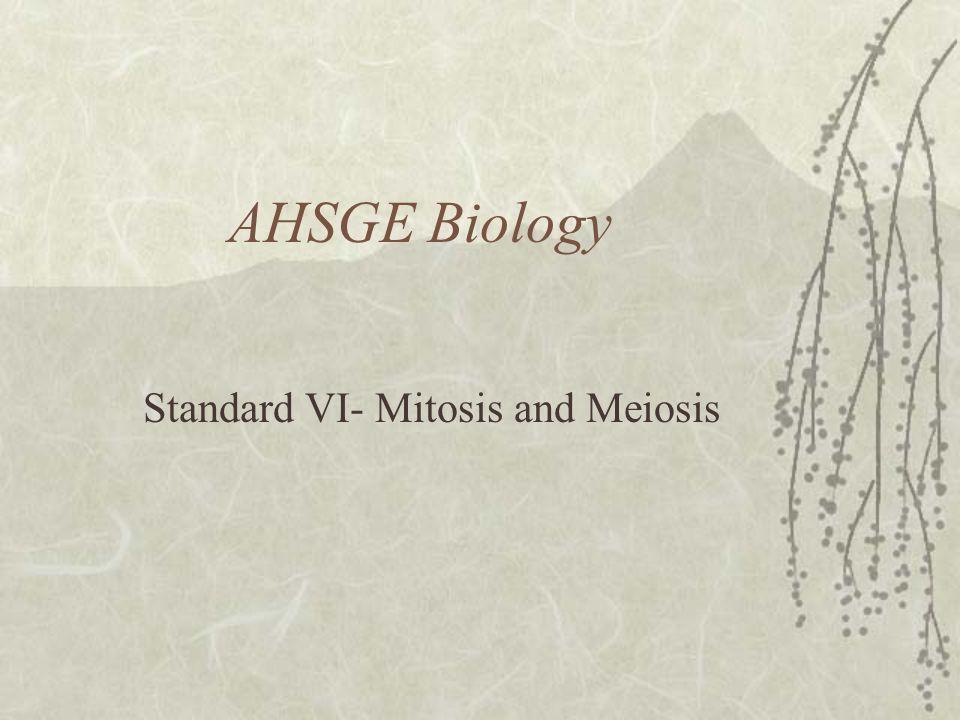 AHSGE Biology Standard VI- Mitosis and Meiosis