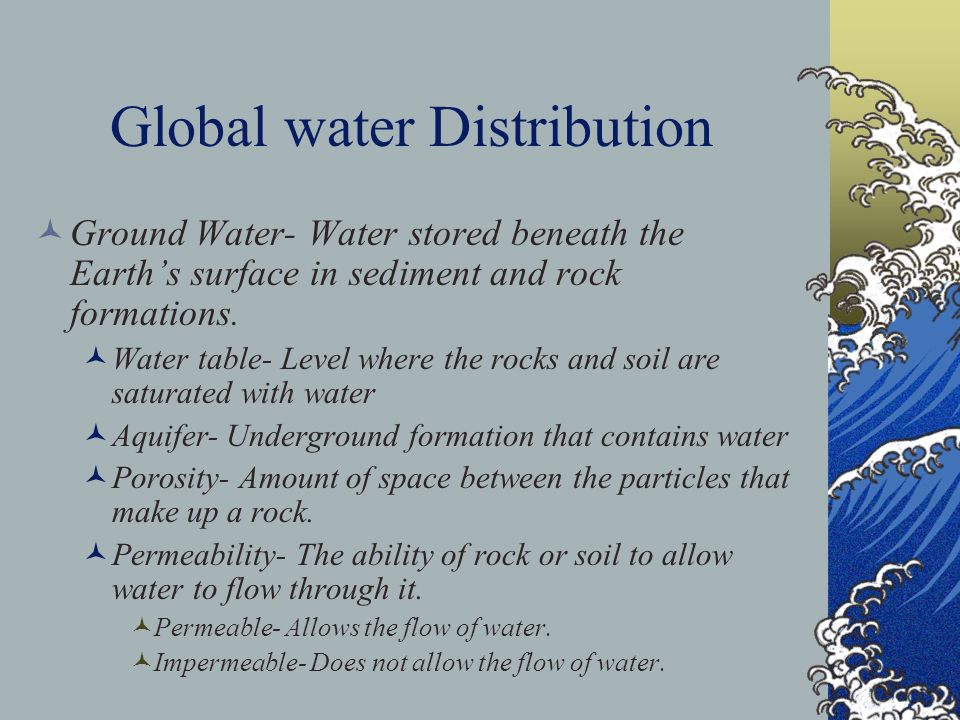Global water Distribution Ground Water- Water stored beneath the Earths surface in sediment and rock formations. Water table- Level where the rocks an