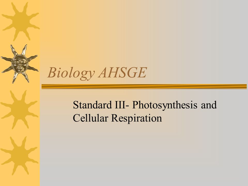 Biology AHSGE Standard III- Photosynthesis and Cellular Respiration