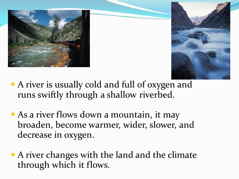 Rivers A river is usually cold and full of oxygen and runs swiftly through a shallow riverbed. As a river flows down a mountain, it may broaden, becom