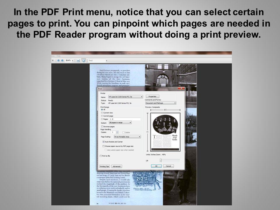 In the PDF Print menu, notice that you can select certain pages to print.
