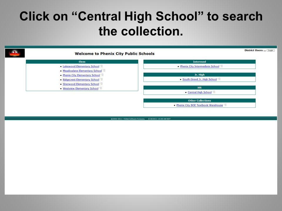 Click on Central High School to search the collection.