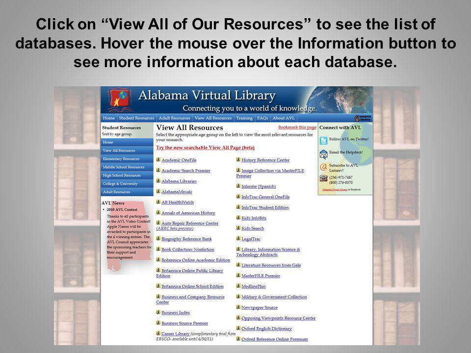 Click on View All of Our Resources to see the list of databases. Hover the mouse over the Information button to see more information about each databa