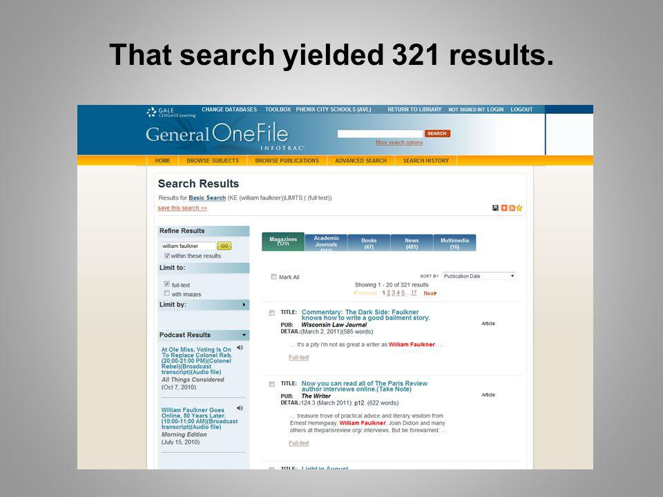 That search yielded 321 results.