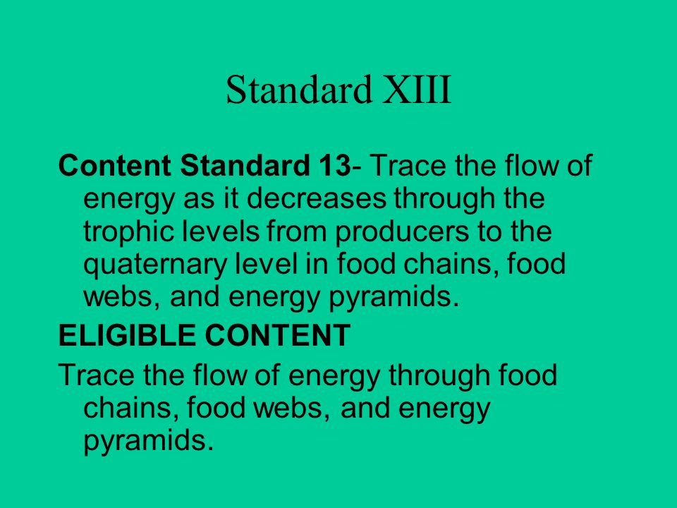 Standard XIII Content Standard 13- Trace the flow of energy as it decreases through the trophic levels from producers to the quaternary level in food