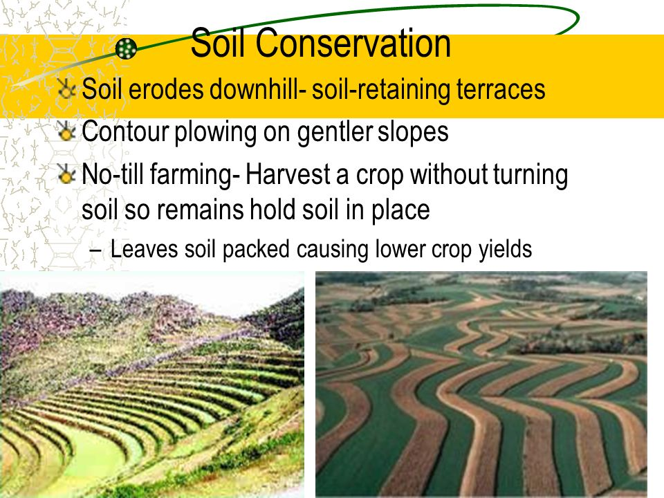 Soil Conservation Soil erodes downhill- soil-retaining terraces Contour plowing on gentler slopes No-till farming- Harvest a crop without turning soil