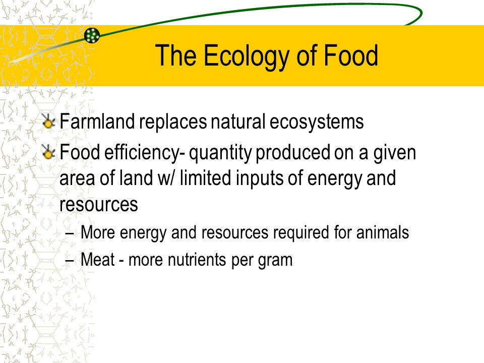 The Ecology of Food Farmland replaces natural ecosystems Food efficiency- quantity produced on a given area of land w/ limited inputs of energy and re