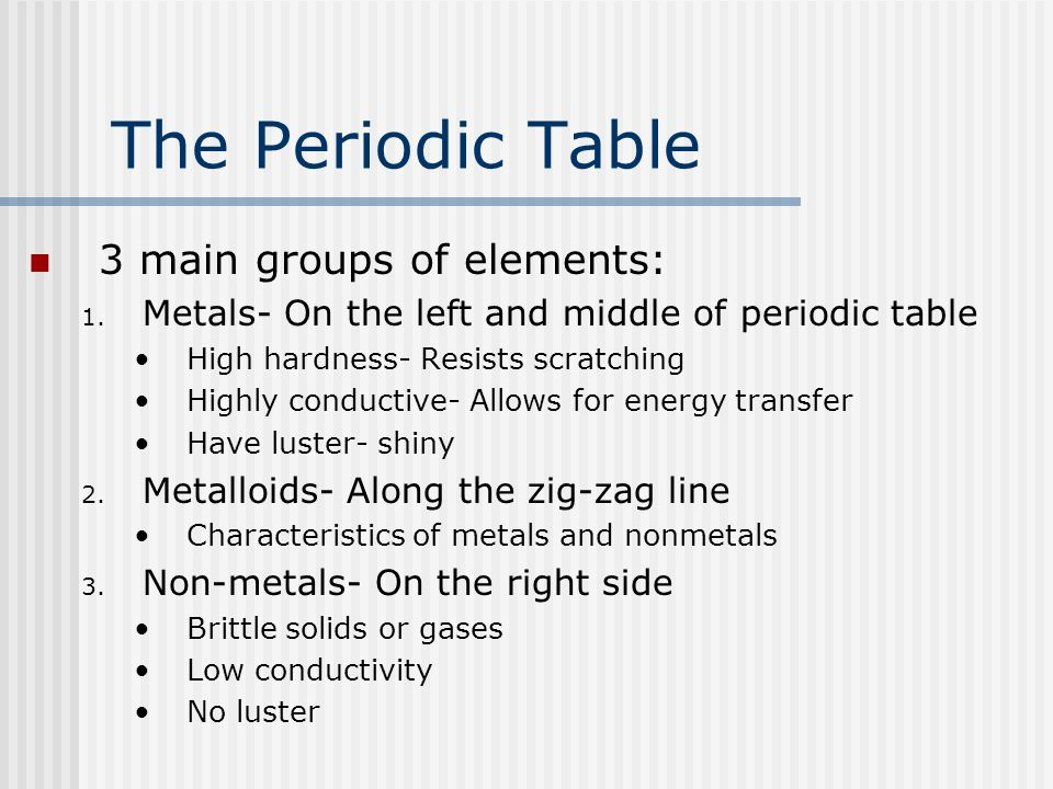 The Periodic Table 3 main groups of elements: 1. Metals- On the left and middle of periodic table High hardness- Resists scratching Highly conductive-